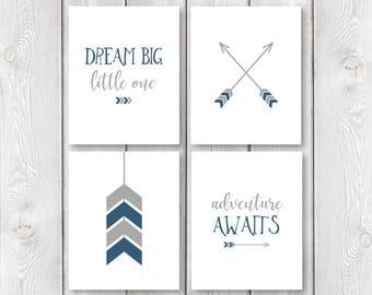 "Adventure Nursery Print Set    8""x10"" DIGITAL DOWNLOAD    Dream Big Little One Print    Adventure Awaits Sign    Boy Nursery Prints"