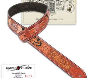 Walker & Williams LC-17 100% Hand Made Leather Guitar Strap with Hand Tooled Eagle