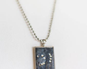 Edgy Orion Constellation Necklace w Swarovski Stars, Large Shades of Gray Orion necklace Strong Hunter, gifts for him - Lucky Star Dreams