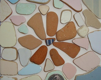 Ceap Sea Pottery, 36 pcs-pastel-coloured sea ceramics, not perfect-Craft Quality Sea pottery and Terracotta-Mosaic supplies