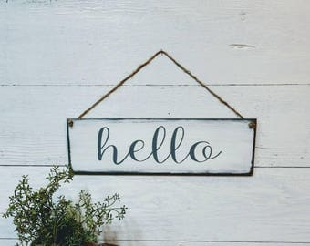 Hello sign, wood sign, wood hello sign, greeting sign, welcome sign, lobby sign, door hanger, wreath sign, porch sign, rustic farmhouse