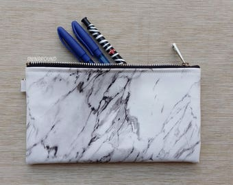 white marble pencil case, black and white clutch, document case, make up bag, travel pouch,school supplies, best gift for everyone.