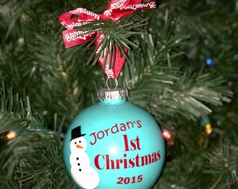 Snowman Personalized Baby's First Christmas Ornament