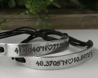 Couples Coordinates Bracelet - Couples Bracelets - Coordinates Bracelet - Long Distance Bracelets - GPS Coordinates