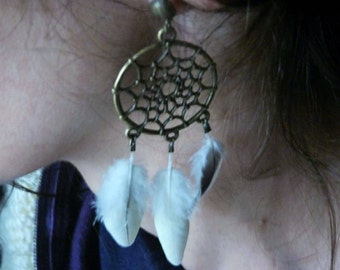 Real Feather Earrings, Indian Earrings, Chandelier Earrings, Dream Catcher Earrings, Natural Feather Earrings, Cockatiel Earrings
