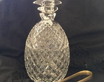 Vintage large glass pineapple ice bucket container bar cart candy dish