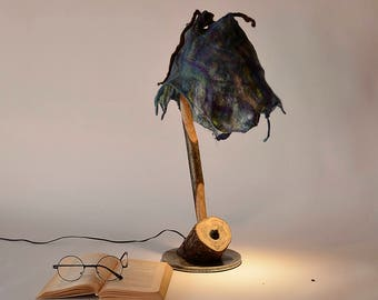 Modern Lighting, Lamp, Table Lamp, Desk Lamp, Unusual Gift, enchanted lamp, Stylish Lamp, Birthday gift for man or woman, Wood and felt lamp