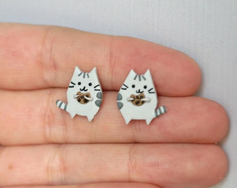 Pusheen cat with cookie - tiny earrings