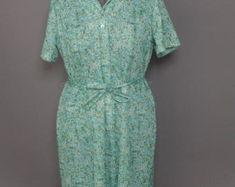 Green Blue button up, belted, zipper dress