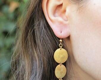 VALENTINES GIFT, Long Bohemian Earrings, Gold Circle Earrings, Four Circle Earrings, Unique Gold Earrings, Dangle Earrings, Jewelry Gift