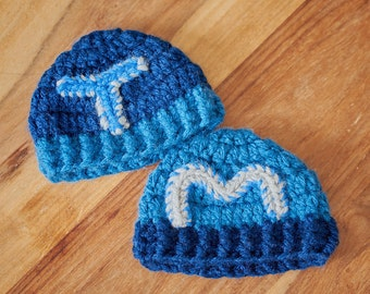Newborn Twin Hat Set - Personalised hats- Identical twin hats