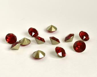 8mm Siam Chaton, Swarovski Crystal Rhinestones, Xirius Round, SS39 Embellishment, Point Back, Loose Rhinestones, 1088, For Sewing,Red Chaton