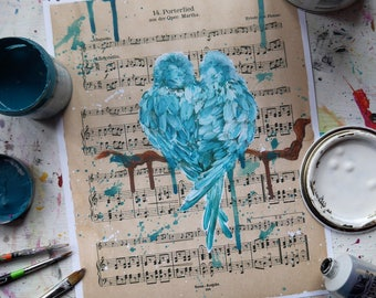 Wedding gift, lovebirds print, anniversary gift, sheet music art, sheet music painting, shabby chic wall art, girlfriend gift, love is love