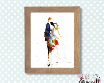 """Wedding watercolor paintinth """"graphic Wedding"""" digital art to custom wedding invitations Save the date Favors, watercolor poster, home decor"""