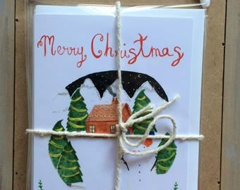 Christmas Cards Pack - 4 Cards - Colorful Cards - Christmas Tree Cards -  Illustrated Cards -