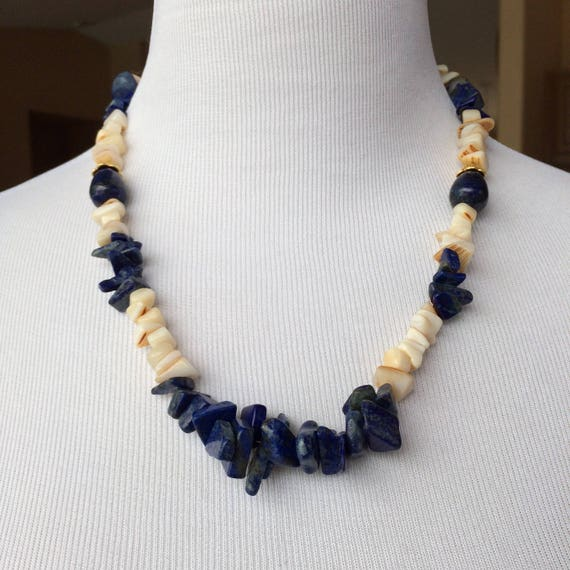 Handmade Lapis and Mother of Pearl Necklace with Gold Plated Brass Accents