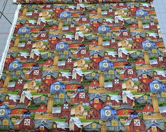 Quilt Trails-All Over Barns Cotton Fabric designed by Karen Combs for Troy