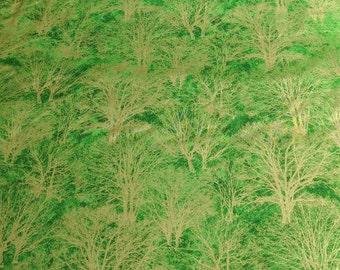 Glistening Trees-Green Cotton Fabric from Paintbrush Studios