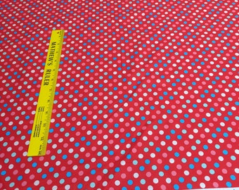 Spot On-Colorful Dots on Red Cotton Fabric from Robert Kaufman