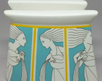 1980s Fujimori Hellenic Collection, Kato Kogei, Japan, Napkin Holder with Deco Inspired Greek Figures. Turquoise and Yellow. Rare!