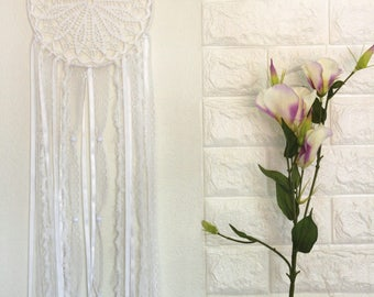 White Crochet Dream Catcher, Airy Dream Catcher, Romantic Decor, Wedding Decor, Vintage Lace Decor, Home Bedroom Decor, Baby Shower Decor