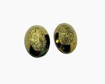 high quality pyrite druzy cabochon  10.1 gm 2 pcs  GM 627