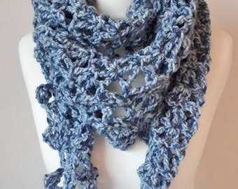 Crochet Cowl, Crochet Lace Shawl, Crochet Triangle Shawl