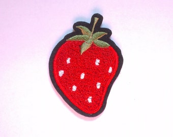 Strawberry Iron on Applique, Red Strawberry Iron on Patch, Mini Fruit Iron-on Application
