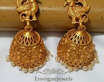 Indian jhumka, Temple jewelry, South Indian jhumki, Temple jhumka jhumki, Golden jhumka earring, Indian wedding jewelry, Bollywood earring.