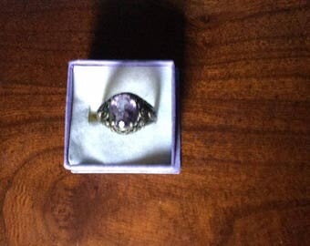 Sterling Silver Filigree Vintage Ring size 6-- Oval Amethyst Approximately 2 Carat