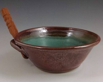 Rust Red and Turquoise Stone Pate Dish