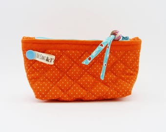 Purse quilted large format, orange