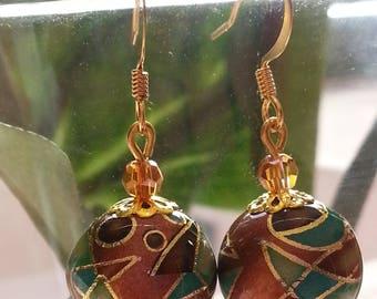 Japanese TENSHA beads and Swarovski - earrings-
