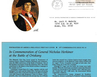 1977 USPS,  General Nicholas Herkimer, 13 cent, 1st Day of Issue, Beautiful Condition, Vintage Stamps