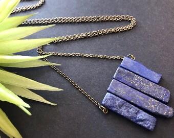 Lapis Lazuli Pendant Necklace // Long Necklace // Natural Stone Necklace // Blue Stone Necklace // Stone Pendant Necklace // Lapis Necklace