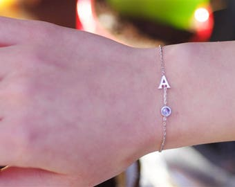 Personalized Birthstone Bracelet, Silver Initial Bracelet, Bridesmaid Bracelets, Letter Bracelet, Bracelet For Bridesmaids, Silver Bracelet