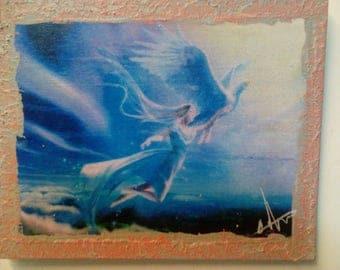 Woman taking flight