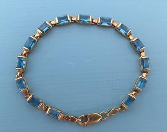 Blue Topaz 14K Gold Bracelet