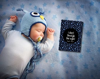 READY TO SHIP ** I Slept Through The Night! / Single Baby Milestone Card / Baby Girl / Baby Boy / Slept Through the Night / First