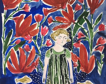 In Her Dreamland. Original painting Dream art Gouache painting Blue Red Little girl Fish Garden Wall art 9x12 Home decor Original art kmoeri