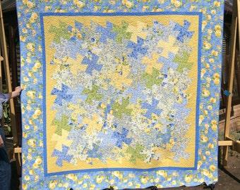 Handmade Twister Quilt.King Size Quilt. Yellow. Patchwork Quilt.Home Decor.Large Quilt.Queen Size.Unique.Blue quilt.Gift. Wedding.