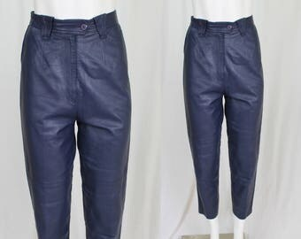 80s soft leather tapered trousers / high waist navy blue leather pants / S / on sale