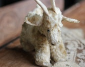 Adorable Vintage Straw Stuffed Mountain Goat with Sweet Face