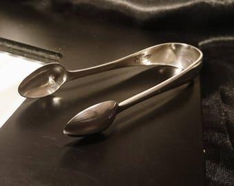 Antique silver plated sugar tongs, sugar nips, silver plated sugar bows
