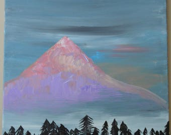 Pretty mountain and sky acrylic painting