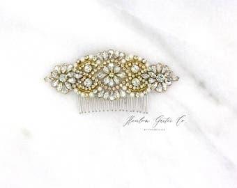 Gold Wedding Hair Comb, Pearl and Rhinestone, Bridal Headpiece, Rhinestone Hairpiece, Hair Accessory