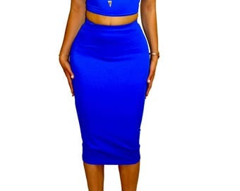 Royal Blue Midi Pencil Skirt & Off Shoulder Crop Top