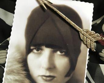 Années 20 Français Antique Vintage Antique Epingle à chapeaux Art Deco - Fléche strass