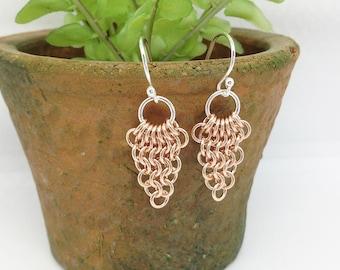 European Leaf Earrings/Chandelier Earrings/14k Gold Earrings/Gold Chain Earrings/Fine Jewelry/Gold Link Chain Earrings/Gold Jewelry for Girl