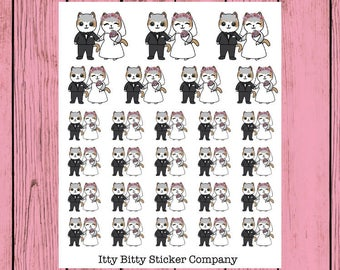 Mauly gets Married - Hand Drawn IttyBitty Kitty Collection - Planner Stickers